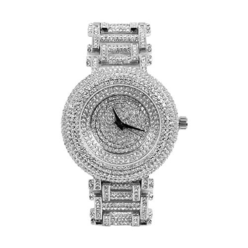 Men's Fully Iced Out Round Watch with Unique Style Band and Simulated Diamonds - Silver