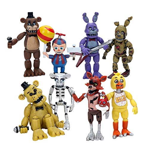 PAPCOOL Set 8 FNAF Action Figures 1.5- 2.5 inch Hot Toys Foxy Bonnie Freddy Bear Mini Small Cute Figure Sister Location Toy Christmas Halloween Collectable Gift Gifts Collectible Collectibles for -