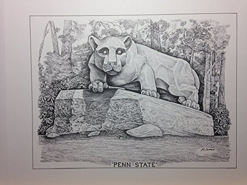 Penn State - Lion Statue 8''x10'' pen and ink print by Campus Scenes