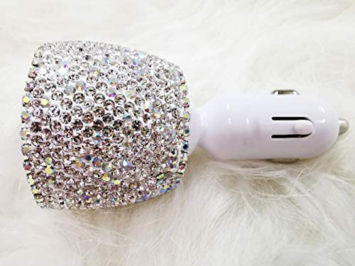 Dual USB Car Charger Bling Bling Handmade Rhinestones Crystal Car Decorations for Fast Charging Car Decors Purple for iPhone Android iOS USB ect.