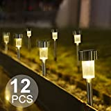 #8: Boomile Warm White Solar Garden Lights Outdoor, Solar Powered Garden Lights, Outdoor Solar Lights for Lawn/ Landscape/Pathway/Patio (12Pack)
