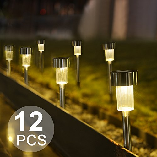Boomile Warm White Solar Garden Lights Outdoor, Solar Powered Garden Lights, Outdoor Solar Lights for Lawn/ Landscape/Pathway/Patio (12Pack) (Garden And Outdoor)
