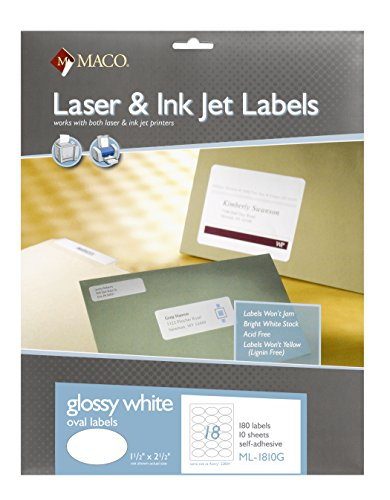 MACO Laser/Ink Jet Glossy White Multi-Purpose Labels, 1-1/2 x 2-1/2 Inches - Oval, 18 Per Sheet, 180 Per Pack (ML-1810G) Oval Inkjet Labels