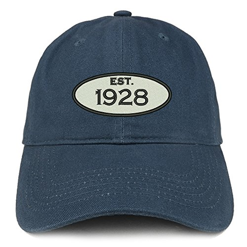 Trendy Apparel Shop Established 1928 Embroidered 91st Birthday Gift Soft Crown Cotton Cap - Navy