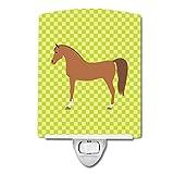 Caroline's Treasures Arabian Horse Green Ceramic Night Light, 6 x 4'', Multicolor