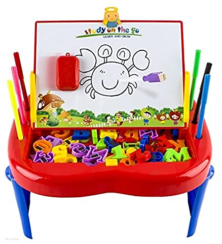WolVol (Set of 66) Easel Style Drawing Board for Kids with Magnetic Letters and Numbers, Colorful Markers and Eraser