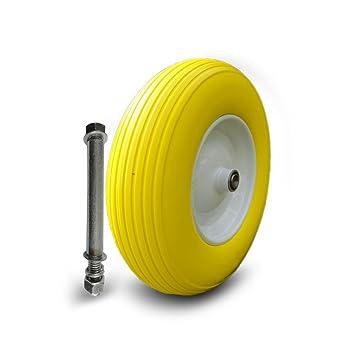 Carretilla rueda PU, neumático de repuesto Increvable rígida para mueble ascenso 4.80/4.00 - 8 - Rueda Goma: Amazon.es: Jardín