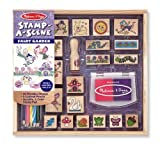 Toys : Melissa & Doug Stamp-a-Scene Stamp Pad: Fairy Garden - 20 Wooden Stamps, 5 Colored Pencils, and 2-Color Stamp Pad