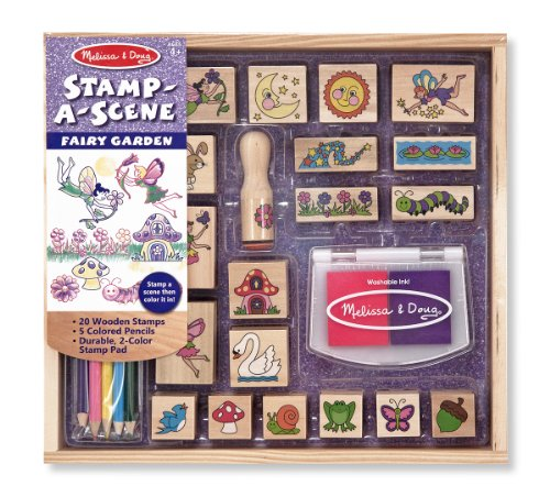-a-Scene Stamp Pad: Fairy Garden - 20 Wooden Stamps, 5 Colored Pencils, and 2-Color Stamp Pad (Scrapbooking Pencils)
