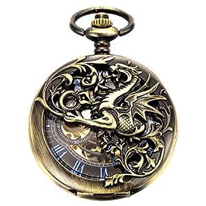 Reloj de Bolsillo – Dream Dragon ManChDa mecánico Skeleton Dial Negro Bronce Caja Doble con Cadena + Caja de Regalo (1. Bronce)