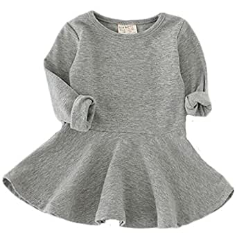 Fayele Baby Girl's Long Sleeve Cotton One-piece Dress, 2-3 Years Gray