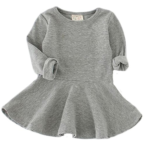 EGELEXY Baby Girls' Long Sleeve Cotton Ruffle Top Dress 18-24Months Grey Size 18-24Months (Grey)