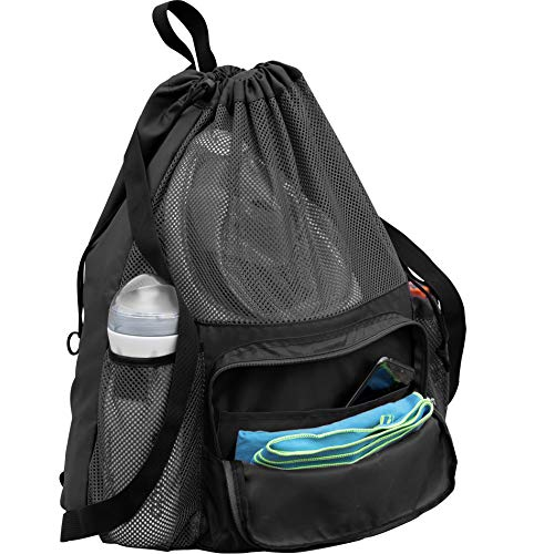 ButterFox Large Swimming Equipment Mesh Bag with Separated Waterproof Dry Compartment, Dry and Wet Separated (Black)