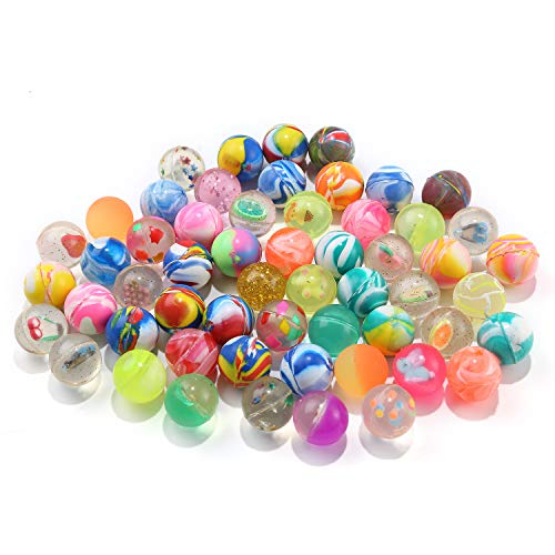 Perzodo 60 Pieces 25mm Jet Bouncy Balls Mini Rubber Bouncing Ball Mixed Color for Bag Filler, Party Favor and Picnic -