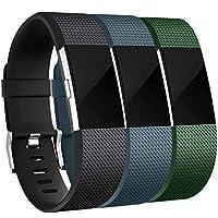 Reemplazo de bandas Maledan Compatible con Fitbit Charge 2, paquete de 3, negro /azul pizarra /verde, grande