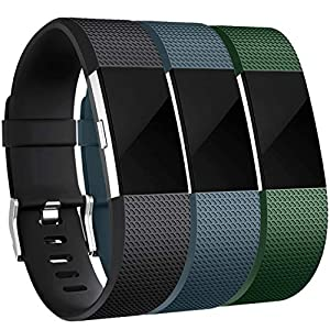 Maledan Bands Replacement Compatible with Fitbit Charge 2, 3-Pack, Black/Slate Blue/Green, Large