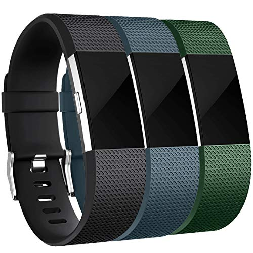 Maledan Bands Replacement Compatible with Fitbit Charge 2, 3-Pack, Black/Slate Blue/Green, Small