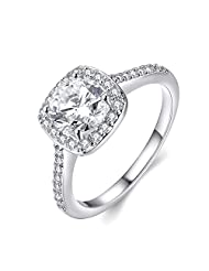 Eternity Love Women's 18K Rose/White/KC Gold Plated Princess Cut CZ Crystal Engagement Rings Best Promise Rings Anniversary Wedding Bands for Lady Girl