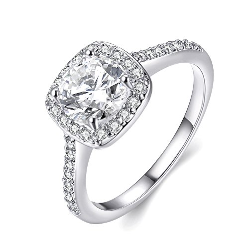 EnjoIt Silver Plated Crystal Square Wedding Engagement Rings Fashion Woman...