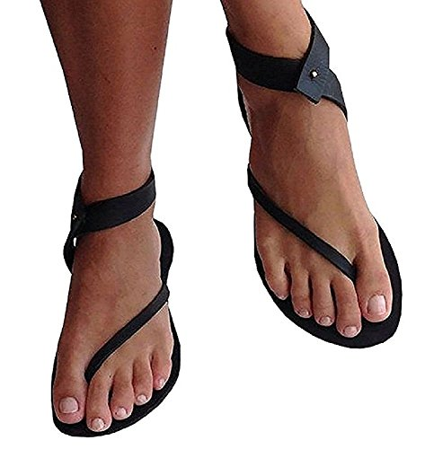 Dellytop Womens Sandals Flat Cute Gladiator Thong Flip Flop Casual Summer Shoes Black wwABLzQlhq