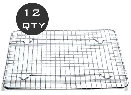 12 QTY - 1/2 SIZE WIRE PAN GRATE / COOLING RACK - RESTAURANT