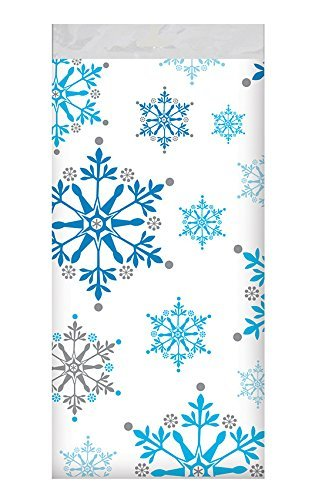 Creative Converting 317151 All Over Print Plastic Table cover, 54 x 102, Snowflake Swirls