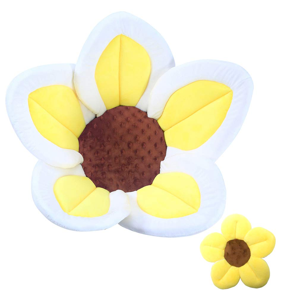 Baby Bath Flower Soft Cushion Non-Slip Safety Sink Insert Tub Creative Play-mat 0-12 Months, Includes Mini Bath Flower Scrubby Toy BPA Free (Baby Yellow) by Baby Dave