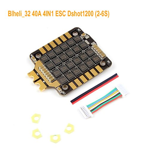 Esc Controllers (4IN1 ESC,Rcharlance Typhoon Blheli_32 40A 4IN1 fpv esc BLHeli Brushless Electric Speed Controller Dshot1200 ESC (2-6S) for 140-360mm Diagonal Wheelbase FPV Drone)