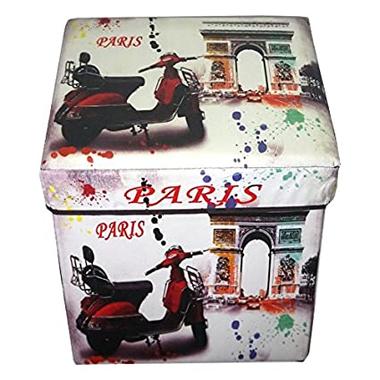 MSE Vintage Print Film Storage Box Large Capacity Toys Storage Stool  Multifunctional With Lid Folding Storage