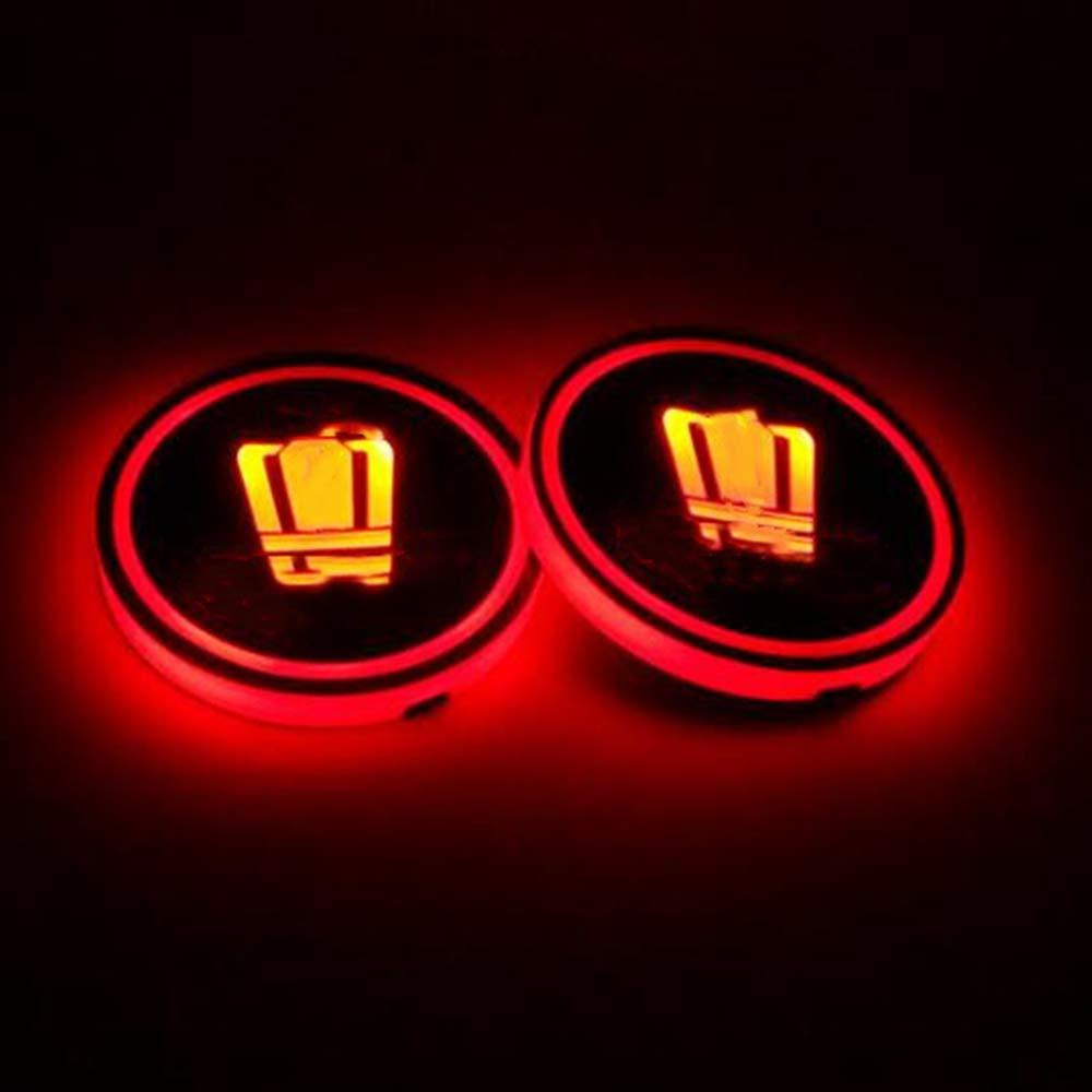 WEIYIQ Car Logo Pad Cup Impermeabile Bottiglia di Bevande Sottobicchiere Lampada incorporata Sostituzione Colore Pad di Ricarica USB LED Illuminazione della Luce Accessori Illuminazione 2 PZ