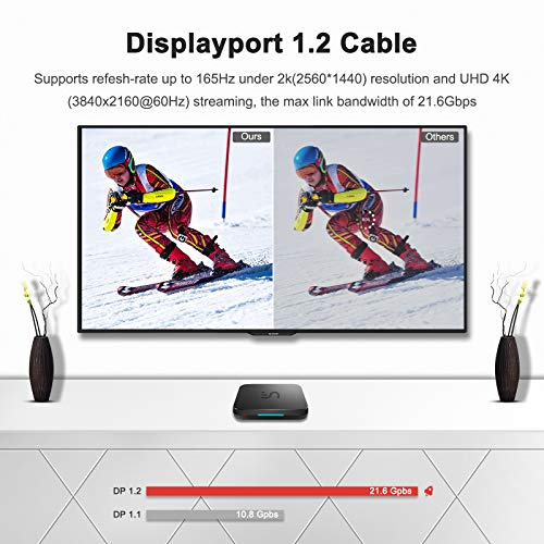 DisplayPort to DisplayPort Cable, TECHLYY DP Cable 2m High Speed DisplayPort Cable 2K@165Hz, 2K@144Hz, 4K@60Hz, Nylon Braided & Gold-Plated DP to DP cable (V1.2) for Laptop, PC, TV, Gaming Monitor