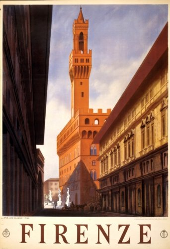 1938 Firenze Travel Poster historic street in Florence