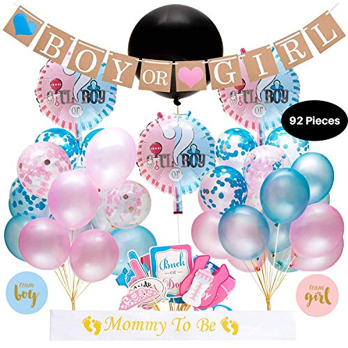 Baby Gender Reveal Party supplies kit - 92 piece decorations with 36