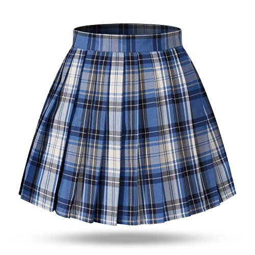 Girl's School Uniform Plaid Pleated Costumes Skirts (M, Blue White Black)
