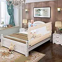 70 Inches Bed Rail for Toddlers Fold Down Safety Baby Bed Guard Swing Down Bedrail for Convertible Crib, Kids Twin, Double, Full Size Queen & King Mattress by WELSPO, Beige (1 Pack)