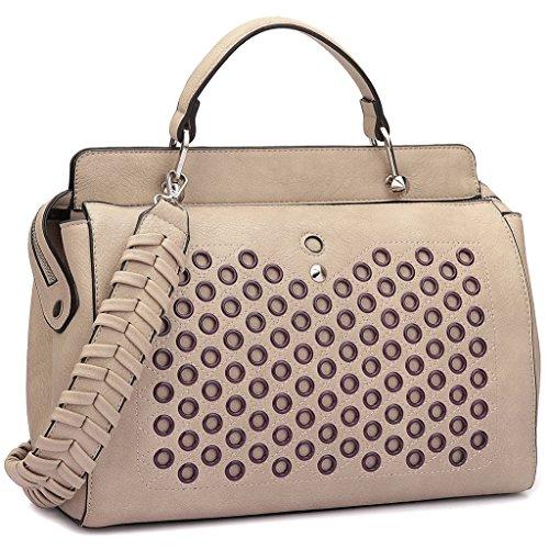 Double Zip Top Handle Satchel Handbag Designer Perforated Purse w/ Weave Shoulder Strap Stone Double Top Zip Shoulder Bag