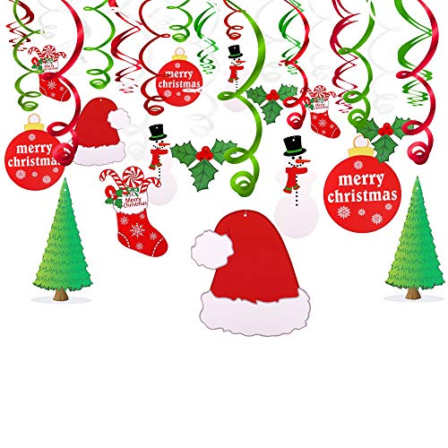 (Konsait Christmas Hanging Swirl Decoration Kit(30pcs), Merry Christmas Swirls Garland Foil Hanging Ceiling Decoration for Xmas Winter Wonderland Holiday Party Decor Supplies,Already)