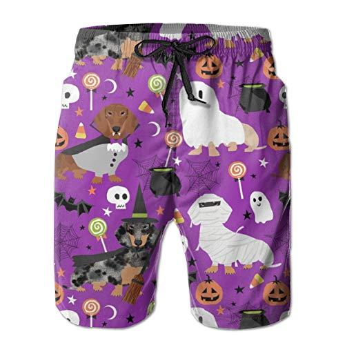 Dachshund Halloween Fabric Dog Dogs Fabric Doxie Halloween Spooky Ghost Fabric - Purple_1056Men's Summer Beach Shorts,L ()
