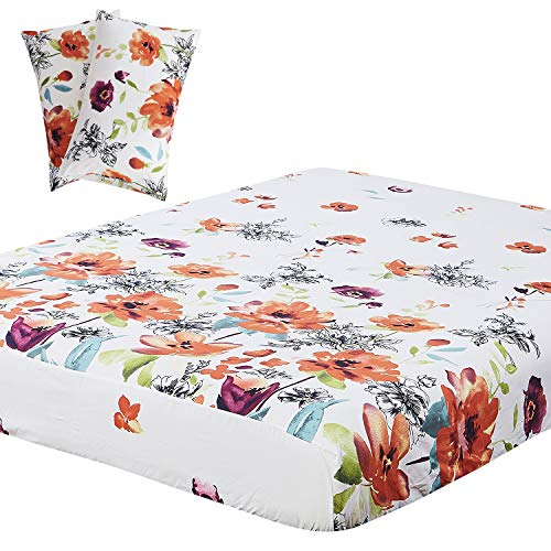 Vaulia Lightweight Microfiber Sheets, Flower Printed Pattern, Red/Orange King Size, 3-Piece Set (1 Fitted Sheet, 2 Pillowcases)