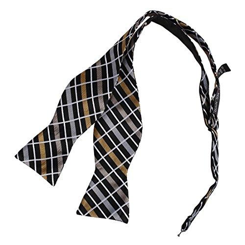 lack Khaki White Checkers Bow Tie Microfiber Handmade For Boyfriend Self-tied Bow Tie ()