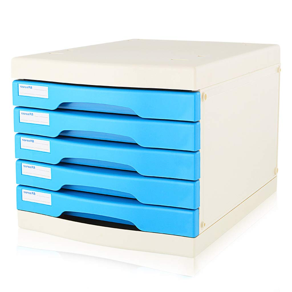 File cabinets LITING A4 Five-Layer Plastic Data Cabinet Office Storage Drawer File Box Storage Cabinet (Color : Blue)