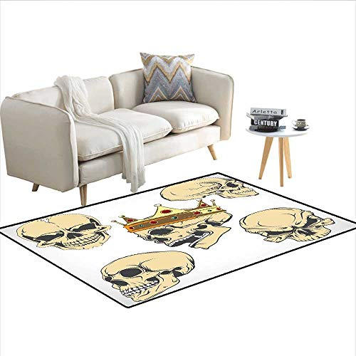 Carpet,Skulls Different Expressions Evil Face Crowned Death Monster Halloween Print,Area Silky Smooth Rugs,Sand Brown Yellow 55