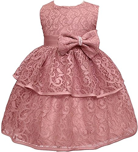 Toddler Baby Girls Lace Applique Christing Pageant Birthday Party Dress DustPink 12-24M