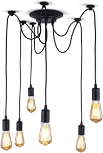 XIUDI 6 Arms Industrial Ceiling Spider Lamp,Metal Pendant Lights Fixture,Home DIY E26 Edison Bulb Chandelier Lighting,for Coffee Shop Dining Living Room (Each with 78.74