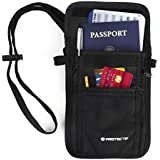 RFID Wallet for Men & Women - Hidden Neck Pouch with Multiple Compartments for Passports Cell Phones Credit Cards ID and Cash