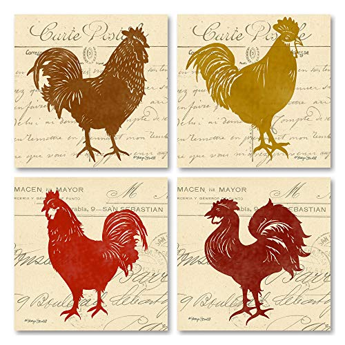 (wallsthatspeak 4 Bright Tuscan Rooster Graphic Collage Italian Kitchen Decor Art Prints, 12 x 12-Inch, Red/Gold)