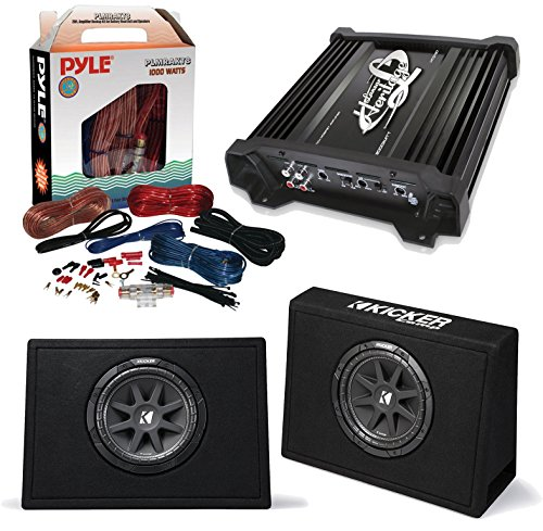 "Car Subwoofer And Amp Combo: 2x Kicker 10TC104 Comp 10"" 300W Audio Subwoofers Bundle With Lanzar HTG237 1000W Heritage Mosfet Stereo Amplifier + Pyle PLMRAKT8 8 Gauge Marine Amplifier Installation Kit"