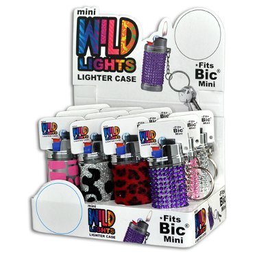 (1x Mini BIC Lighter Holder- ONE Cover with Design and Color Maybe Vary)