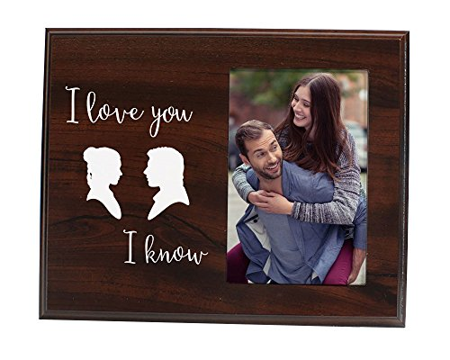 Funny newlywed or valentines day gift - Cute picture frame for couples that says I Love You, I Know