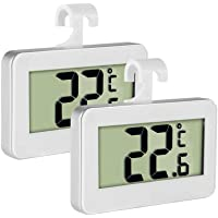 Fridge Thermometer Refrigerator Thermometer,INRIGOROUS Pack of 2 LCD Digital Fridge Freezer Thermometer Monitor with Hanging Hook and Retractable Stand